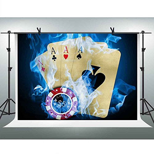 FHZON 7x5ft Texas Hold'em Poker Photography Backdrop Casino Background Themed Party YouTube Backdrops Photo Booth Studio Props PFH315