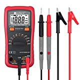 Neoteck Pocket Digital Multimeter 8233D PRO 2000 Counts Auto Range Digital Multimeters Digital Multi Tester-DC Current Resistance Diodes Transistor Audible Continuity Tester with Backlit LCD-Red