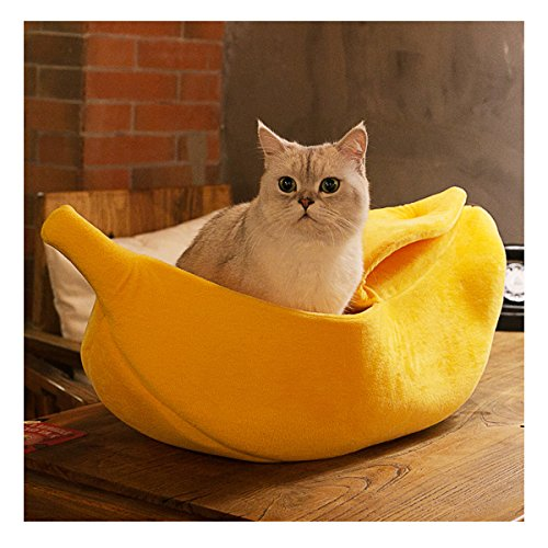 WORDERFUL Pet Dog Cat Banana Bed House Pet Boat Dog Cat Warm Hourse Soft Yellow Sleep Nest for Cats Kittens Pet Bed (L)