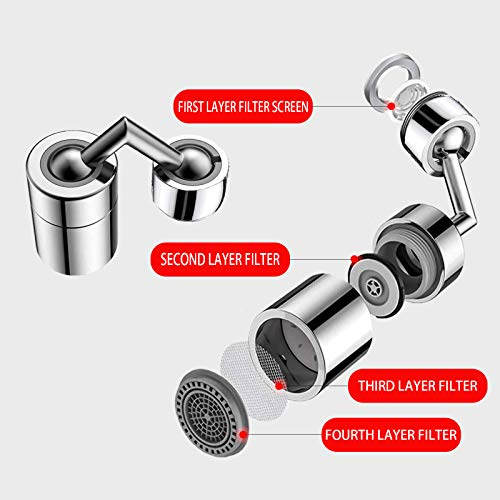 Two 720-degree universal rotating splash-2 PCS proof double-spout shower heads, filter aerator spout faucet, bathroom faucet, installed for face washing, mouthwashing and eyewashing
