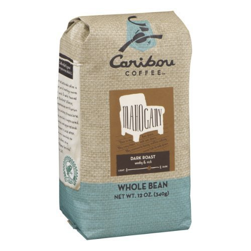 Caribou Coffee Whole Bean Mahogany Base Roast Coffee (Pack of 2)