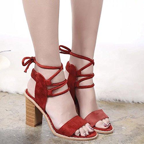 Tacón Sandalias Verano Zapatos Talón Talón Gamuza Alto Romanas Grueso Mujer Zapato de Madera Cordones de Rojo Vendaje Zapatillas 7Fv5xF6