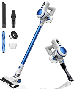 Orfeld Cordless Vacuum Cleaner, 2 in 1 Stick Vacuum with Digital Motor, 17 kPa Powerful Suction & LED Brush for Home and Car Cleaning - Pearl White (Renewed)