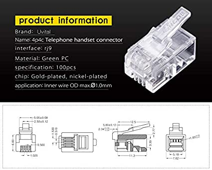 100 Pack RJ12 6P6C Plug Uvital Transparent Telephone Jack Flat Cable Modular Plug Connector Clear Line Snap-in Crimp-On Plugs