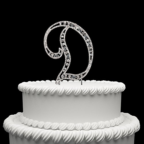 Diamante Rhinestone Crystal Monogram Letter Alphabet Cake Toppers For Wedding Birthday Party Decoration 1pcs (Crystal Monogram)