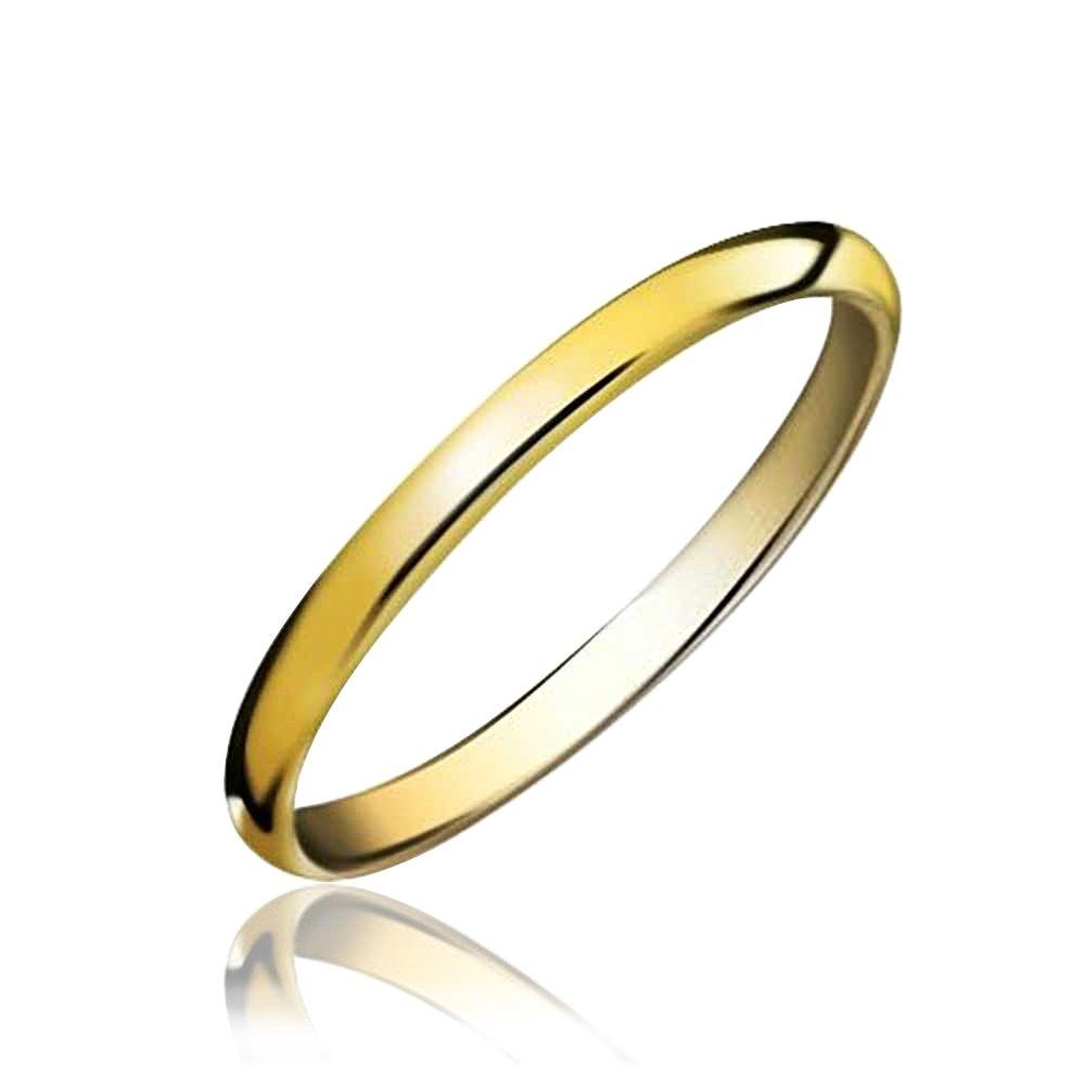 Bling Jewelry Vergoldete Tungsten Unisex Hochzeit Band Ring 2mm