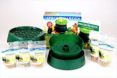 Basic Sprouting Starter Kit w/ Seeds - Everything You Need to Grow Sprouts in Your Kitchen - Includes: 3 Tray Sprout Garden, Organic Sprout Seed: Bean Mix, Alfalfa, Salad Mix, Wheat