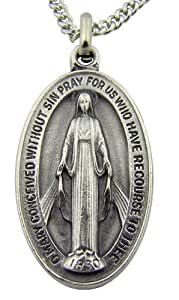 Silver Toned Base Oval Virgin Mother Mary Madonna Miraculous Medal, 1 1/2 Inch
