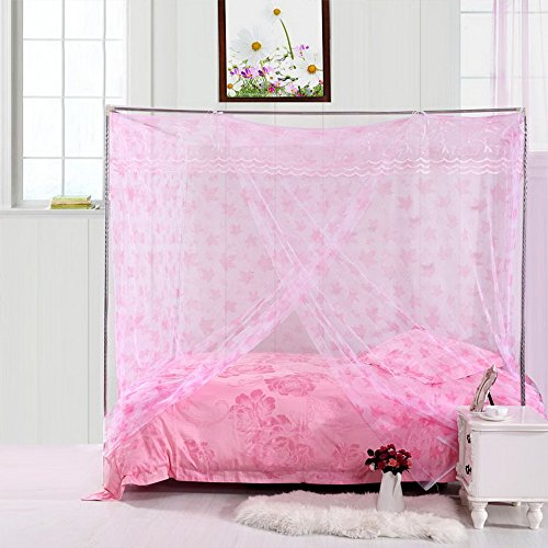 Pink Maple Leaf Lace Princess Luxury 4 Post Bed Canopy Student Mosquito Net - Maple Size Bed Bunk Twin