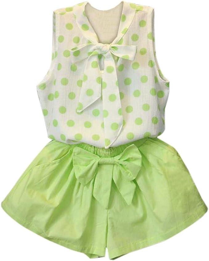 Switchali Vestido niñas, Niños Bebé Niña Verano Moda Blusas Bowknot Chaleco Punto Camisa + Pantalones Cortos Gasa Conjunto de Ropa de Fiesta para Chica Casual Blusa 100 (1~2años): Amazon.es: Ropa y accesorios