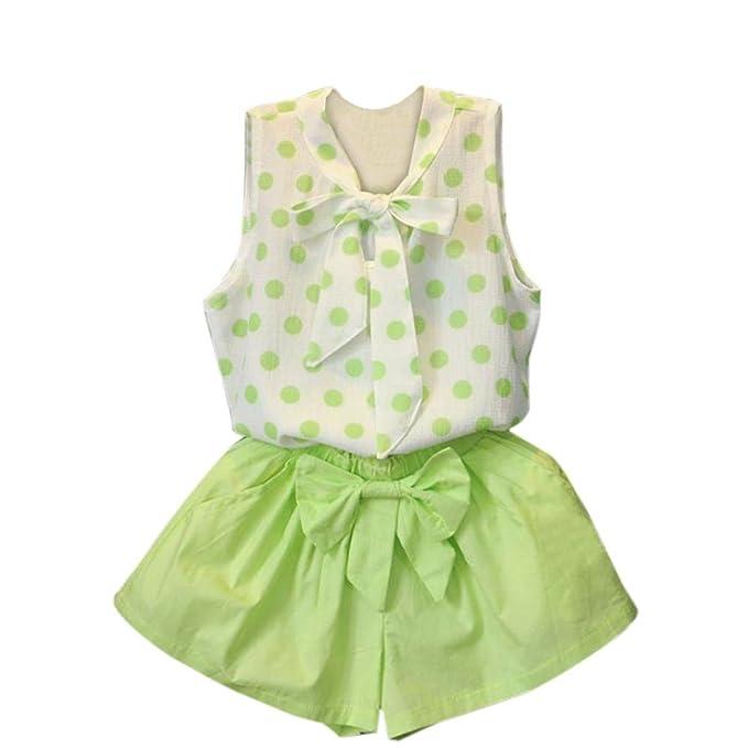 Switchali Vestido Niñas, Niños Bebé Niña Verano Moda Blusas Bowknot Chaleco Punto Camisa + Pantalones