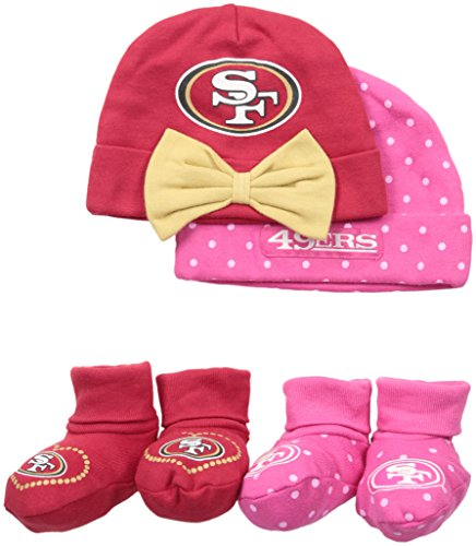 Gerber Childrenswear Dots 4 Pack Cap & Bootie Set, 0 - 6 Months, Pink, San Francisco 49ers