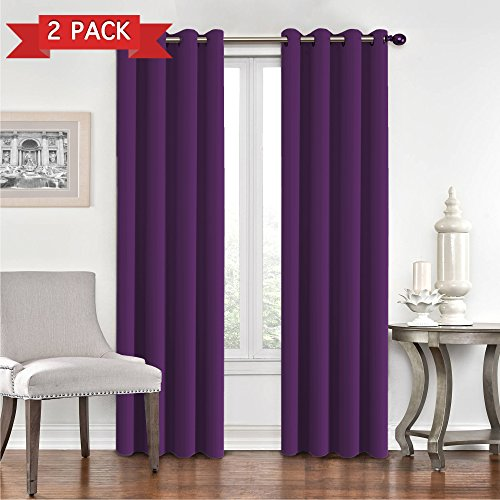 Flamingo Plum - Flamingo P Blackout Room Darkening and Purple Thermal Insulating Window Curtains/Panels/Drapes - 2 Panels Set - 8 Grommets per Panel (Indigo Plum, 52 x 108 with Grommets)