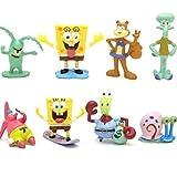 ABBROS SpongeBob SquarePants Mini Figures Play Set Birthday Party Supplies - Squidward Tentacles, Sandy Cheeks, Patrick Star, Mr. Krabs, Plankton - 8 pcs - 2 Inch