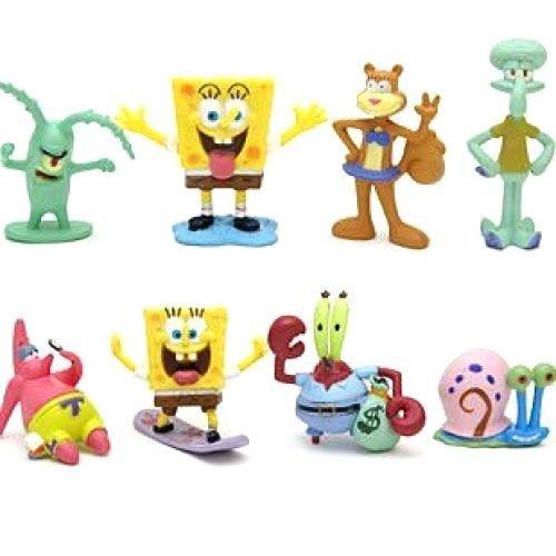 ABBROS SpongeBob SquarePants Mini Figures Play Set Birthday Party Supplies - Squidward Tentacles, Sandy Cheeks, Patrick Star, Mr. Krabs, Plankton - 8 pcs - 2 Inch by ABBROS