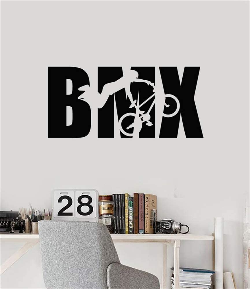 Ewdsqs BMX Wall Decal Extreme Sports Stickers BMX Bike Biker Wall Decor Boys Room Bike Boys Room Decor Bicycle Wall Art Decal