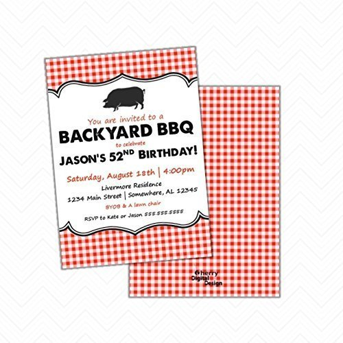 b9132b8ad Amazon.com: Backyard BBQ Printed Birthday Party Invitations | Envelopes  Included: Handmade