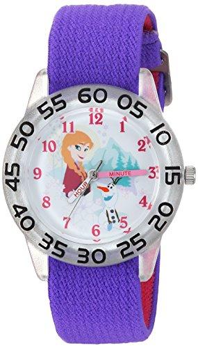 Disney Girl's 'Frozen Olaf' Quartz Plastic and Nylon Casual Watch, Color:Purple (Model: WDS000174)