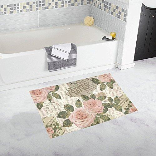 InterestPrint Antique Rose Flowers Vintage Newspaper Home Decor Non Slip Bath Rug Mats Absorbent Shower Rug for Bathroom Tub Bedroom Large Size 20 x 32 Inches