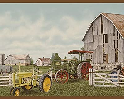 Brown Tractor Fence Old Cars Barn Country Wallpaper Border
