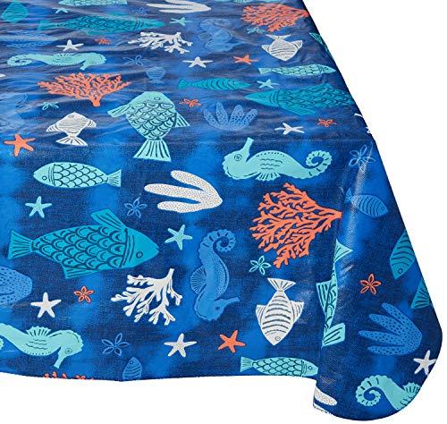 Summer Blue Sealife Rectangular Vinyl Tablecloth (60 x 102 Inches)