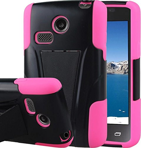 Duo Shield Armor Case (LG Sunrise Case, LG Lucky Case - Armatus Gear (TM) DUO SHIELD Hybrid Armor Case Phone Cover For NET10 LG Sunrise L15G and TRACFONE LG Lucky L16C - Hot Pink / Black)
