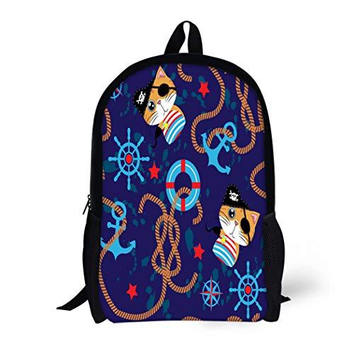 Pinbeam Backpack Travel Daypack Cute Pirate Cat Steering Wheel and Anchor Marine Waterproof School -