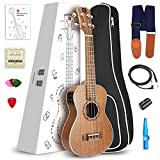 Vangoa UK-26ME Acoustic-Electric Ukulele 3 Band EQ with Nylon Strap, Pick, Pick Container, Carry Bag, KAZOO, Finger shaker, Backup Strings