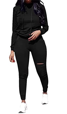 Women s Jogging Suits Pullover Hoodie Sweatshirt Hollow Out Skinny Long  Pants Tracksuits Set 2 Pieces Outfits f9e8c4e1e