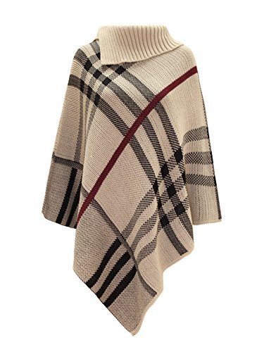 (Chaos Theory Women's Checked Knitted Winter Poncho Red Band Wrap Shawl Cape Stone One Size)