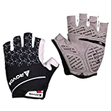 Bikes Gloves Men Half Finger Gel Pad Breathable Bikes Gloves Summer (Black,Large)