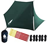 Chill Gorilla Fortress Hammock RAIN Fly with 4 Doors. Tent Tarp Waterproof Camping Shelter. Ultralight SILNYLON. Easy to Setup. Essential Survival Gear. Stakes Included. Green