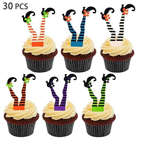 Swibitter Halloween Witch's Boot Paper Cupcake Toppers Party Decorations Kit - Witch Boot Legs Cupcake Topper Wrapper Liners, Witch Feet Shoes, Fall Holiday, Halloween Birthday Gifts Table Supplies