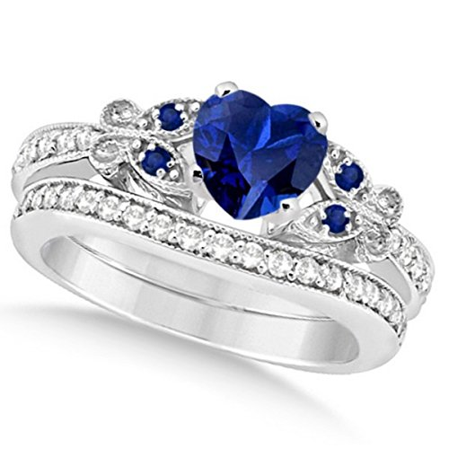 Preset Butterfly Blue Sapphire and Diamond Engagement Ring and Band Bridal Set 14k White Gold 2.70ctw