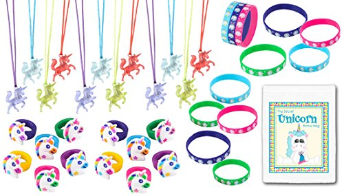 36 Piece Unicorn Theme Birthday Party Favor Bundle Assortment Pack for 12 Kids (12 Unicorn Rings, 12 Necklaces, 12 -