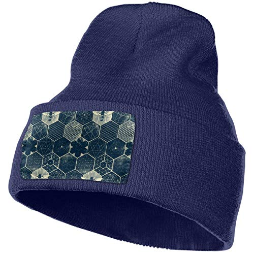 Cgi04T-5 Warm Knitting Hat for Men Women, 100% Acrylic Acid The Honeycomb Conjecture Pattern Beanie Hat Navy