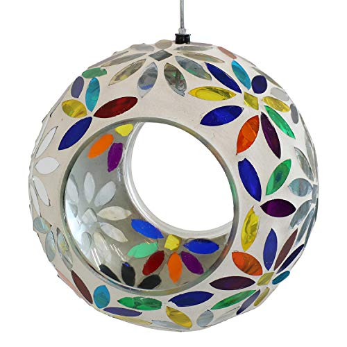 Fly Through Gazebo Feeder - Sunnydaze Outdoor Hanging Fly-Through Bird Feeder with Rainbow Daisies Mosaic Glass Design, 6-Inch