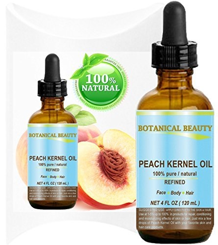 PEACH KERNEL OIL. 100% Pure / Natural / Undiluted / Refined Cold Pressed Carrier Oil for Skin, Hair, Massage and Nail Care. 4 Fl. oz-120 ml. ()