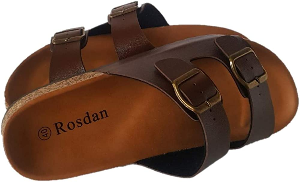 Flat Slip on Shoes for Men Indoor and Outdoor with Anti-Skid Engraved Undersole Rosdan Mens Cork Sandals Casual Slides with Double Adjustable Buckle Strap