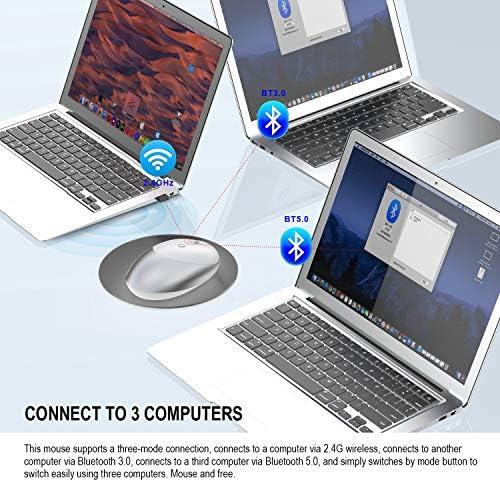 Souris sans Fil 5.0/3.0 2.4Ghz Souris Trois Modes De Conception Silencieuse Rechargeable Optical Mouse pour PC Laptop Mac