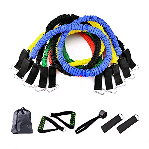 Resistance Bands Set 11 Pieces include 5 Stackable Exercise