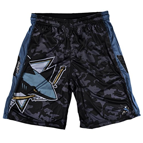 Forever Collectibles KLEW NHL San Jose Sharks Big Logo Polyester Shorts, Large, Blue
