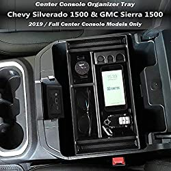 EDBETOS Center Console Organizer Tray for 2019 Chevy Silverado 1500/GMC Sierra 1500 and 2020 Chevy Silverado/GMC Sierra 1500/2500/3500 HD Armrest Storage Secondary Box -Full Center Console Models Only