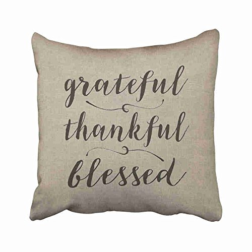 Newhomestyle Decorative Throw Pillow Cover Square Grateful Thankful Blessed Rustic Cript Damask Pillowcase with Hidden Zipper Decor Fashion Cushion Gift for Home Sofa Bedroom Couch Car 20x20 inches ()
