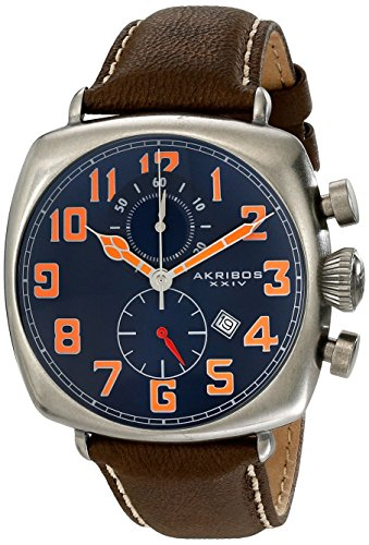 Akribos XXIV Men's AK786BU Chronograph Quartz Movement Watch with Blue Dial and Brown with Cream Stitching Leather Strap