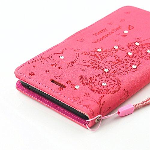 JIALUN-Personality teléfono shell Estuche de cuero de la PU del caso del soporte del folio con el caso del soporte de la correa de la mano de la ranura de la tarjeta de la caja de efectivo y de la fot Red