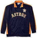 MLB Houston Astros Men's Tricot Poly Track Jacket, 4X, Navy/Orange
