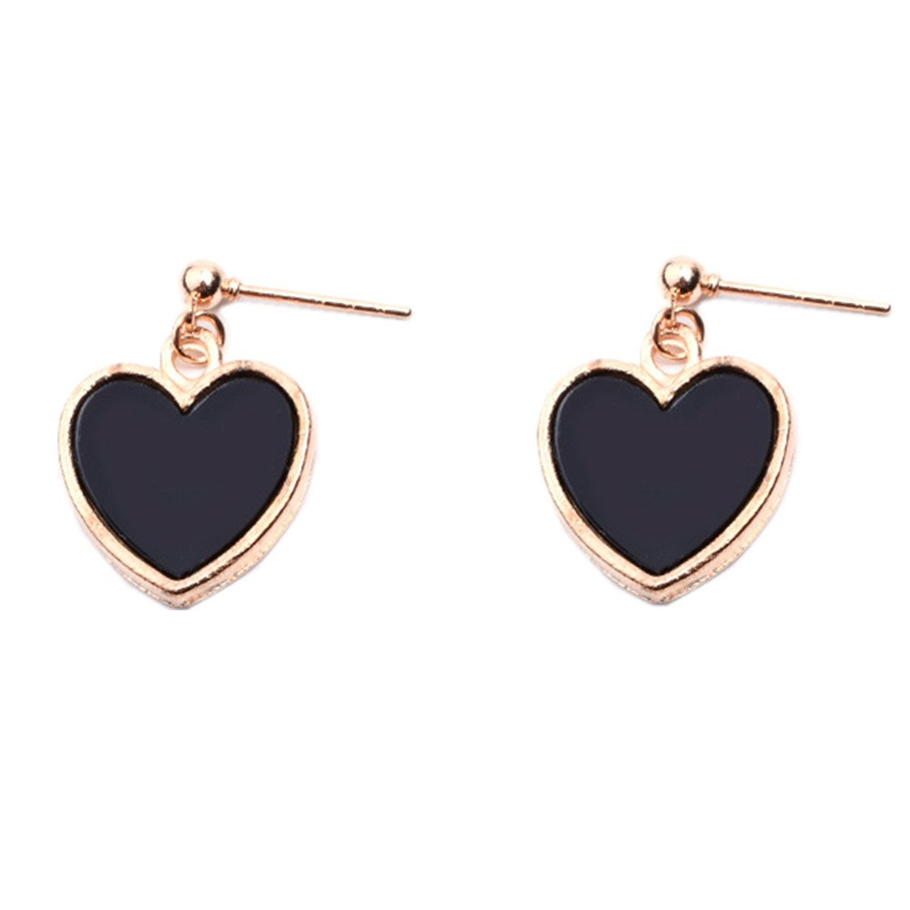 18K Gold Plated Black Onyx Agate Peach Heart Charm Women girls stud Earrings