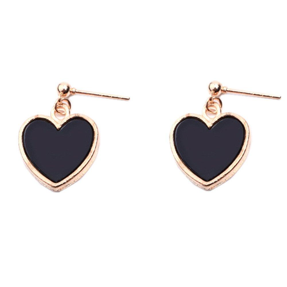 18K Gold Plated Black Onyx Agate Peach Heart Charm Women girls stud Earrings (Short)
