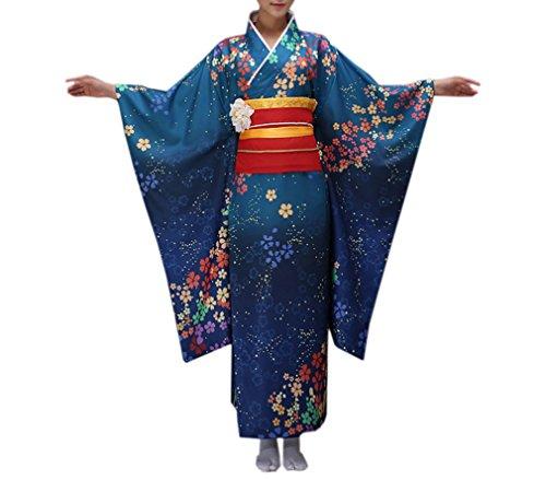 Vestaglia Scuro Kimono 3 Colori Floreale Con Acvip Donna Lungo Blu Giapponese BvxCqnnw5X